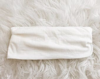 White Stretch Knit Headband