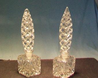 Two Tall Stopper Checkoslavakia Perfume Bottles