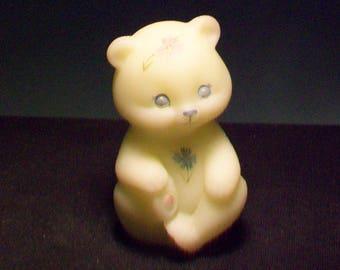 Fenton Custard Satin Hand Painted Bear Figurine