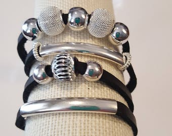 Suede and Silver Wrap Bracelet
