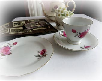 Rose tea cup saucer and plate...