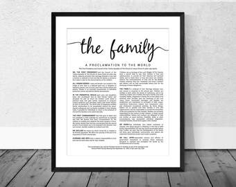 The Family Proclamation to the World - LDS Family Proclamation Poster - Digital Download - Modern Proclamation to the Family Art - LDS Decor