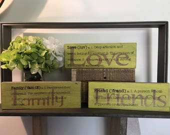 Love, Friends, Family shabby chic wooden planks