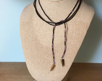 Lariat Seed Bead Necklace Black & Purple