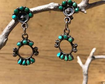 Old Pawn Earrings, Vintage Native American Earrings, Zuni Earrings, Turquoise Dangle Earrings, GreenTurquoise Earrings, Sterling Silver