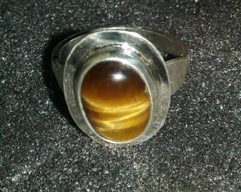 Tiger eye cabochon ring