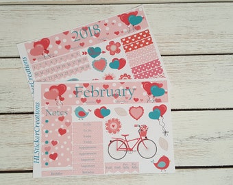 Valentines Day Monthly Kit, Happy Planner, Hearts, February