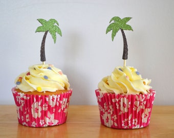 Palm tree cupcake toppers/ glitter palm tree cake toppers/ tropical toppers/ pack of 6