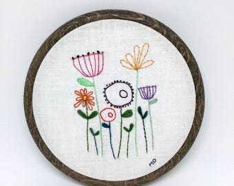 Standing Flowers Contemporary Embroidery