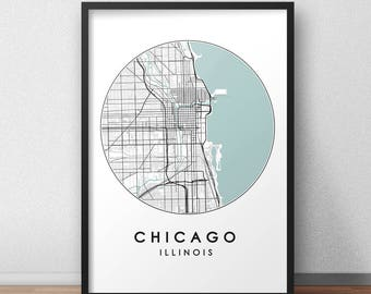 Chicago City Print, Street Map Art, Chicago Map Poster, Chicago Map Print, City Map Wall Art, Chicago Map, Travel Poster, USA