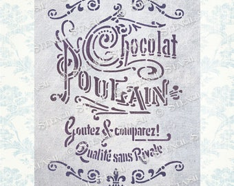 STENCIL Vintage French Script 'Chocolat Poulain' Label, Furniture, Shabby Chic, Crafts, Reusable THICKER 250/10mil MYLAR, by Stencil Stash