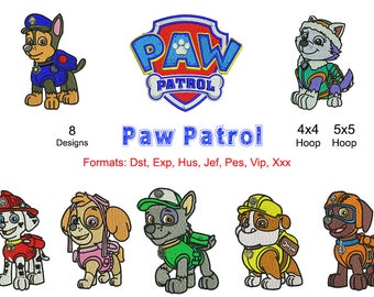 8 Paw Patrol Embroidery Machine Designs, Instant Download
