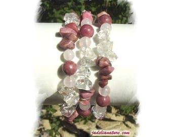 Rhodonite, Rose and rock crystal Quartz bracelet