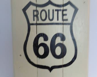 Pallet Sign Route 66, Highway Sign, Wooden Sign, Rustic Handmade Sign, Handpainted Sign, Signs, Reclaimed Pin Handmade Painted Pallet Sign