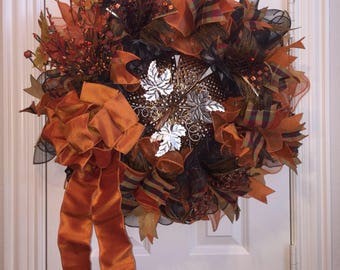 Fall Wreath,Pumpkin Wreath,Front Door Wreath,Thanksgiving Decor,Fall Harvest Wreath,Fall Door Decor,Autumn Wreath,Front Door Decor,Wreath
