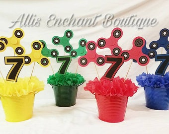 Fidget Spinner  Centerpiece Fidget Spinner Party Real Spins by Hand  Party birthday Boy  Decorations Events Kids Party