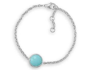 Freeform Faceted Turquoise Bracelet