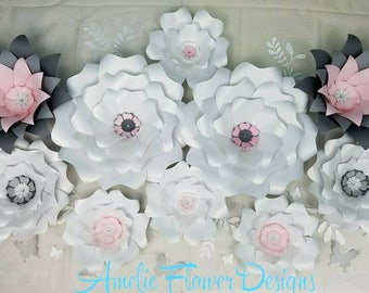 Ten large paper flowers wall.  Large flowers wall. Nursery flowers. Baby shower backdrop. Girls room decor. Flowers for nursery. 3D flowers.