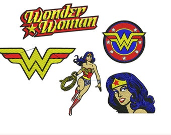 Wonder Woman Embroidery Design, Justice League Embroidery Design, DC Comic Embroidery Design, Superhero, Boy Embroidery 4x4 6x6 Hoop 2 Sizes
