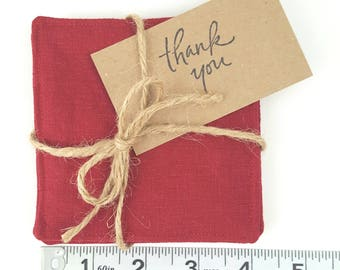 Linen Coasters (set of 4) Red