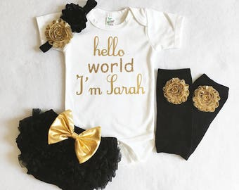 baby girl coming home outfit - baby girl shower gift - hello world baby girl outfit- custom name baby girl - black and gold baby girl outfit