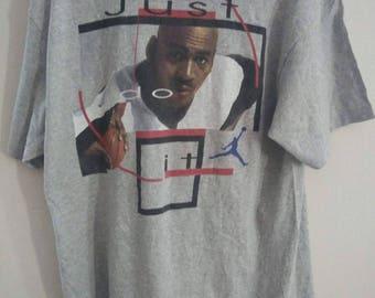 Sale Vintage 90s Nike Air Jordan T shirt Michael Jordan MVP Heather Grey T shirt Made In USA