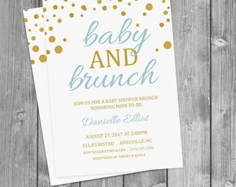Customized Baby Shower Brunch Invitation  • 5X7 • Gold Dots