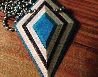 "Blue ""Shield"" Style Recycled Skateboard Necklace"