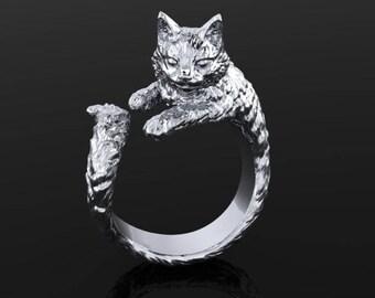 Argentium Silver Cat Ring