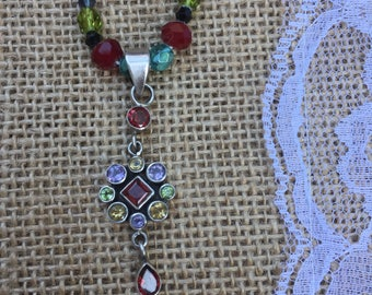 Multicolored crystal necklace with sterling silver pendant
