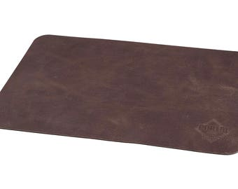 Premium Dark Brown 100% Cow Leather Placemat Anti Slip Sturdy Texture Easy  To Clean