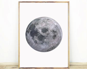 Full Moon Print, Celestial Wall Art, Moon On White Background, Minimalist Moon Art, Large Printable Poster, Instant Download, #504