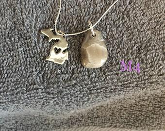 Michigan petoskey stone charm necklace.