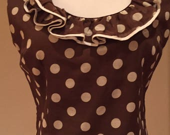 1960-1970s Chocolate Brown & White Polka Dot Sleeveless Blouse/Back Buttons/Ruffled Neckline