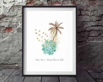 New Year Printable, Holiday Art, Happy New Year, Holiday Decor, Illustration Print, Christmas Decor, New Year 2018 Print, New Year Wall Art