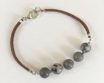 Jasper bracelet, Leather bracelet, Leather jewelry, Gray bracelet, Jewelry, Boho jewelry, Beaded bracelet, Gray jewelry, Jasper, Bracelet