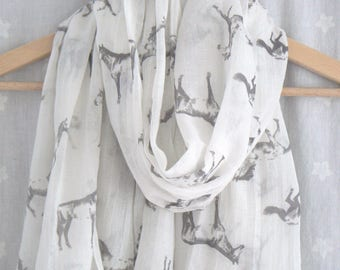 Cream and Beige Horse Print Scarf Wrap Shawl Ladies Women's Equine Equestrian Horses