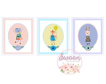 Girl Scandinavian Nursery, Rabbit Fox Cat, Scandinavian Animals, Scandinavian Creatures, Baby Girl Nursery, Nursery Decor, 8x10