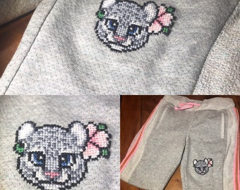 Snow Leopard Embroidered Sweatpants