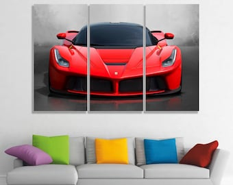 Ferrari La Ferrari canvas Ferrari La Ferrari poster Ferrari La Ferrari prints Super Car Racing Car Sport car Monster Machine  Red car print