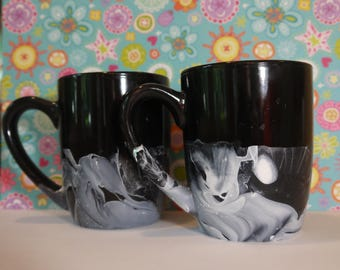 Black and White Marbled Mugs
