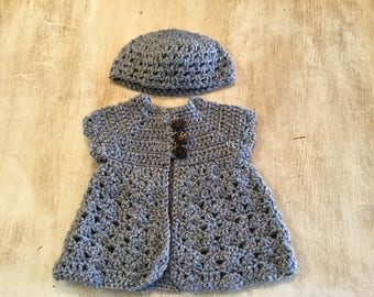 Crocheted Baby girl  hat and short sleeve sweater set. 3/6 month
