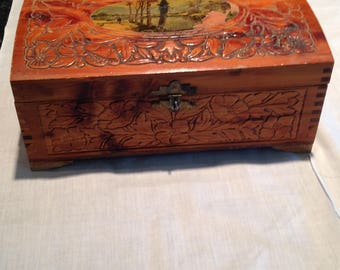 Carved cedar jewelry box
