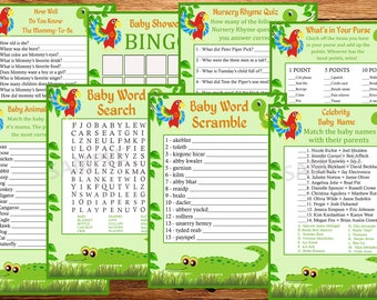 jungle baby shower games package, eight printable games, Baby shower games pack,alligators baby shower games, alligator Baby Shower games