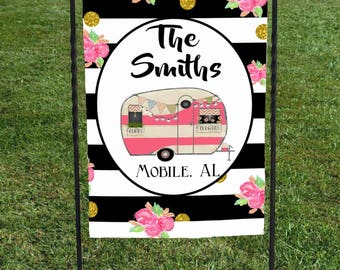 "Personalized Camper Flag, Name & where you are from, Black and White Strips Pink Roses Gold Glitter dots,Display at your campsite, 12""x18"""