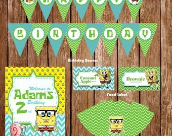 Spongebob Birthday Party Mega Pack, Spongebob Birthday Decorations, Spongebob Printable Party, Spongebob Custom Party, Spongebob Invitation