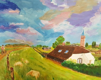 Beautiful naive expressionist painting of a Dutch dike landscape acrylic on board not signed Dutch expressionist naive art