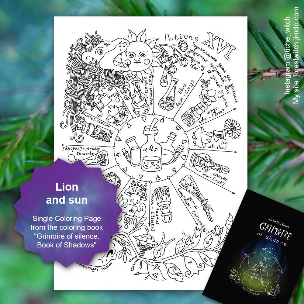 lion and sun single coloring page from the coloring book