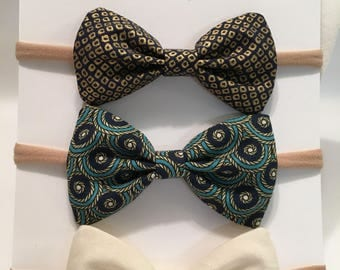 Retro glam bow set in headband or clip