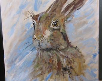 Acrylic hare on canvas 20 x 16